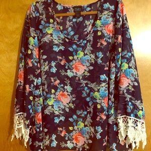 Open Back Floral Print Blouse